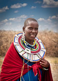 Masai woman with traditional ornaments. Tanzania. Stock Photo
