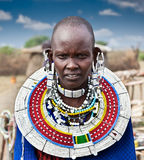 Masai woman with traditional  ornaments. Tanzania. Stock Images