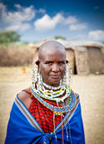 Masai woman with traditional  ornaments, Tanzania. Stock Image