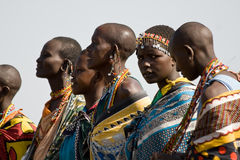 Masai women sing and dance their traditional performance. Royalty Free Stock Photography