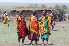 Masai Women Song. The Masai welcome song, danced only by women, dressed with colorful clothes, necklace and bracelet Royalty Free Stock Photos