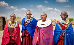 Masai women with traditional  ornaments, Tanzania. Royalty Free Stock Images