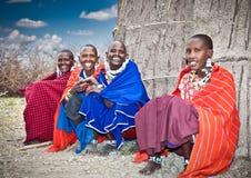 Masai women with traditional ornaments. Tanzania. stock photography