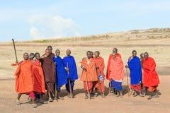 Masai zaludniają w Tanzania Zdjęcia Stock