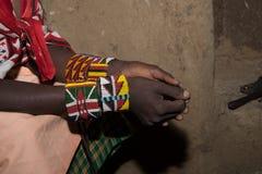 Masaii Girl Art and Jewelery. Masaii woman wearing home made jewelery Stock Photos