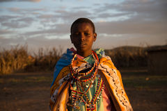 Masaii Girl Portrait. Portrait of Masaii Girl at sunset in South Africa Royalty Free Stock Photo