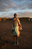 Masaii Girl Portrait. Portrait of Masaii Girl at sunset in South Africa Stock Photo
