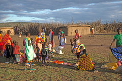 Masaii Women and Children. Peddling wares in South Africa Royalty Free Stock Photo