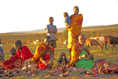 Masaii Women and Children. Peddling wares on the south African plains Royalty Free Stock Images