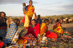 Masaii Women and Children. Selling wares on South African plains Stock Photo