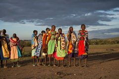 Masaii Women and Children. Selling wares on South African plains Stock Image