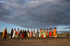 Masaii Women and Children. Singing on the south African plains Royalty Free Stock Photo