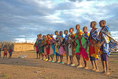 Masaii Women and Children. Singing on the south African plains Stock Image