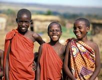 Masaijongens stock foto's