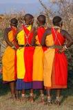 Masaimara-Frauen betriebsbereit zu tanzen Lizenzfreie Stockfotos