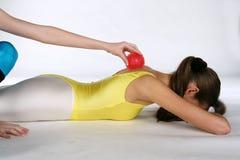 Masaje con una bola del punto Fotos de archivo libres de regalías