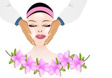 Masaje facial cosmético, vector de los cdr Fotografía de archivo libre de regalías