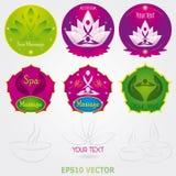 Masaje Logo Set Vector del balneario Foto de archivo libre de regalías