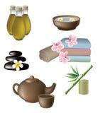 masaje, salud e iconos del balneario Imagen de archivo libre de regalías