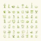 Masaje y balneario, sistema de los iconos para su diseño Imagenes de archivo