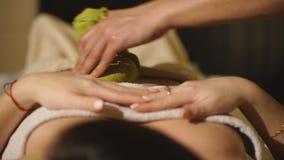 Masajista que hace masaje en carrocería de la mujer en el salón del balneario Concepto del tratamiento de la belleza almacen de metraje de vídeo