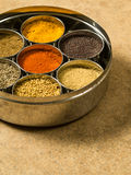 Masala box spices. Photo of a Masala box containing turmeric, fenugreek, coriander, garam masala, black mustard seeds, red chilli, and cumin seeds Stock Photos