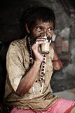Masala chai. Portrait of indian man drinking masala chai - traditional indian tea with milk and spices Stock Photos