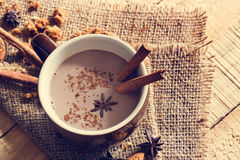 Masala chai chocolate with spices and star Anise, cinnamon stick, peppercorns Stock Photos