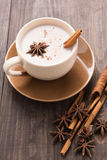Masala chai with spices cinnamon , cardamom, ginger, clove and s Royalty Free Stock Photo