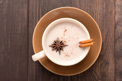 Masala chai with spices cinnamon , cardamom, ginger, clove and s Stock Image