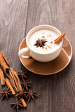 Masala chai with spices cinnamon , cardamom, ginger, clove and s Royalty Free Stock Photos
