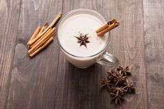 Masala chai with spices cinnamon, cardamom, ginger, clove and st Royalty Free Stock Photography