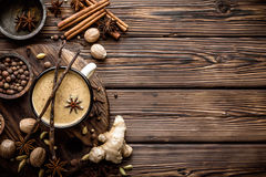 Masala chai tea. Indian masala chai tea with spices and ingredients Royalty Free Stock Photography