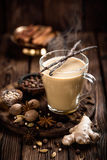 Masala chai tea. Indian masala chai tea with spices and ingredients Royalty Free Stock Images