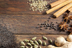 Masala Chai Tea Ingredients Background Stock Images