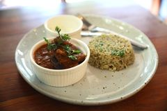 Masala curry , indian food with Biryani rice royalty free stock photo