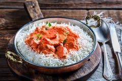 Masala délicieux de tikka avec le poulet en sauce tomate photos libres de droits