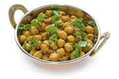 Masala de Chana, caril do grão-de-bico, prato indiano fotos de stock