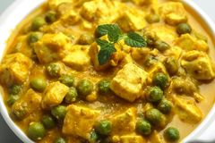 Masala del paneer di Matar - una cucina indiana Immagine Stock
