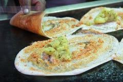 Masala Dosa -从南印度的一个薄煎饼 免版税库存图片