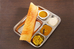 Masala Dosa with Chutney and Sambaar Traditionally a South India. N Dish Royalty Free Stock Images