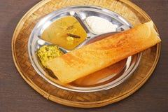 Masala Dosa with Chutney and Sambaar Traditionally a South India. N Dish Royalty Free Stock Photo