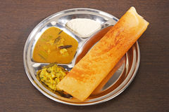 Masala Dosa with Chutney and Sambaar Traditionally a South India. N Dish Stock Photo