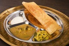 Masala Dosa. With Chutney and Sambaar Stock Image