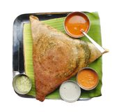 Masala dosa, chutney and sambar. Masala dosa with different types of chutney and sambar Stock Photography