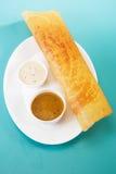 Masala Dosa com chutney e Sambaar tradicionalmente uma Índia sul fotografia de stock