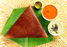 Masala dosa. With different types of chutney and sambar. This is a closeup shot of one of the most famous indian snack Royalty Free Stock Image