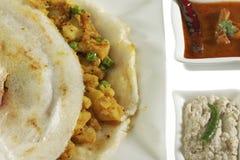 Masala Dosa Stuffed With potato Masala, Chutney And Sambhar Royalty Free Stock Photography
