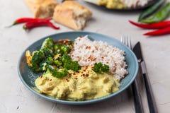 Masala fait main de tikka de cari de poulet avec le riz basmati et le brocco photographie stock libre de droits
