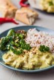 Masala fatto a mano di tikka del curry del pollo con riso basmati e il brocco Fotografie Stock